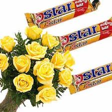 12 Yellow Roses +Three 5 star chocolates