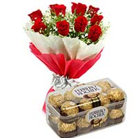 16 Ferrero Rocher chocolates and 12 red roses