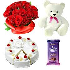 12 red Roses bouquet Teddy 1 Silk chocolate 1/2 kg pineapple cake