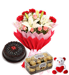 Bouquet of 4 red roses 4 pink roses 2 White lilies 16 Ferrero and Teddy 6 inches with half Kg chocolate cake