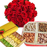 Half Kg Assorted Mithai 1/2 Kg Dryfruits + 12 red rose Bouquet