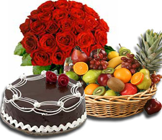 12 red roses hand Bunch+ 2 Kg Fruits basket+1/2 Kg Cake
