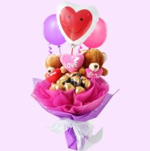 Bouquet of 16 Ferrero and 2 Teddy bears(6 inches each) with 3 Balloons air filled