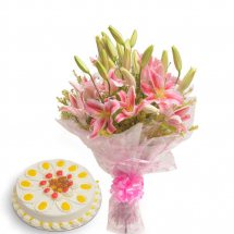 1/2 kg Pineapple Cake with Pink Lilies bouquet