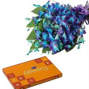 Cadburys celebration box with 10 Blue Orchids bouquet