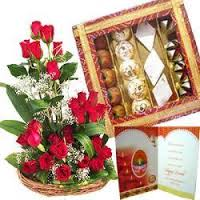 24 red rose basket 1/2 kg mix mithai Card
