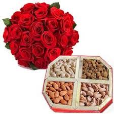 One Kg Dry fruits and a bouquet of a dozen red roses