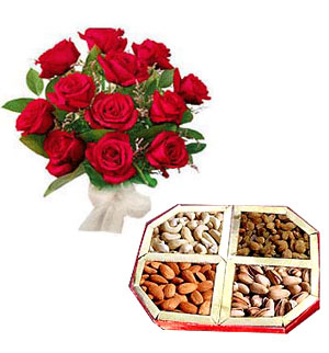 Dryfruits and a bouquet of a dozen roses.
