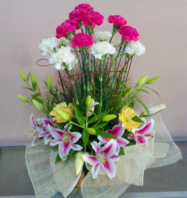 Pink White Carnations with Lilies Basket