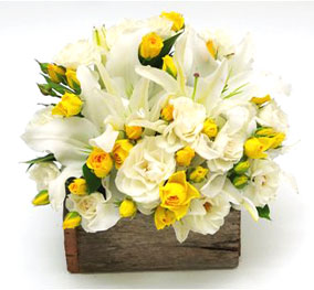 A round arrangement of 24 white and yellow flowers.