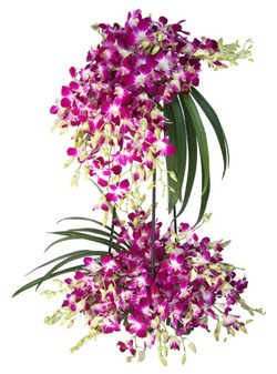 2 Tier purple Orchids Arrangement