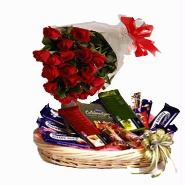 Cadburys chocolate basket 12 red roses