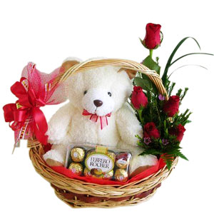 6 red roses Teddy 16 Ferrero rochers in same basket