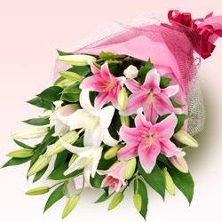 Bouquet of White and pink lilies