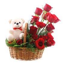 10 Red Roses Teddy in the same basket