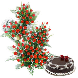 Red Roses on Stand+1 Kg Cake.