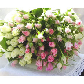 50 White and Pink Roses Bouquet