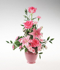 Pink Roses and Pink Lillium in a Vase