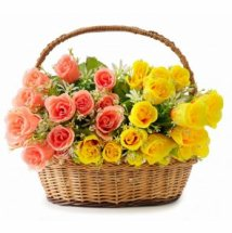 24 Yellow and orange roses Half and half Basket