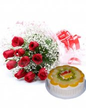1/2 kg fresh fruit cake 12 Red Roses bouquet