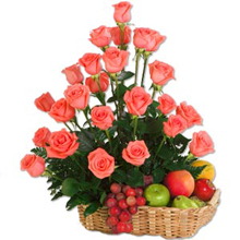 Dozen pink roses 2 Kg Fresh fruits