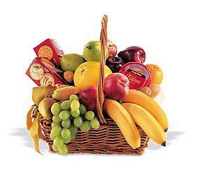 A hamper of fresh seasonal fruits.