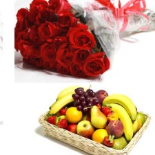 Basket of fresh fruits 2 Kg with 12 red roses
