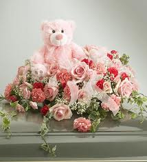Pink Teddy+Pink flowers in same basket