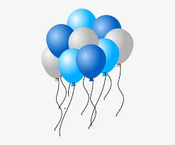 15 Helium Gas filled Blue and White Balloons tied to ribbons