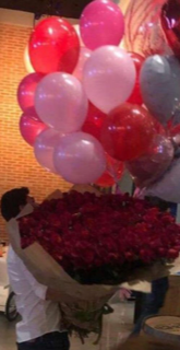 50 red roses bouquet with 20 red and pink gas balloon bouquet