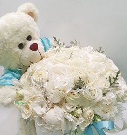 6 inches White Teddy bears 20 White roses basket with blue ribbons