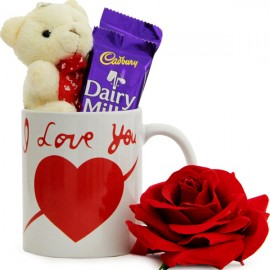 1 Red Rose with Teddy 2 Daiy milk inside a coffee mug (Mug may differ as per availability)
