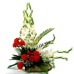 White gladiolli red carnations for Anniversary