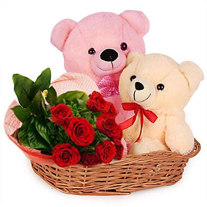 Image result for pink teddy bear and flowers