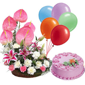 1/2 Kg Strawberry Cake+6 Balloons+24 pink anthuriums carnation Basket