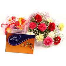 Cadburys celebration box with 8 Mix carnations bouquet