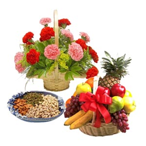 Dozen Carnations basket Half Kg Dryfruits 2 Kg Fresh fruits