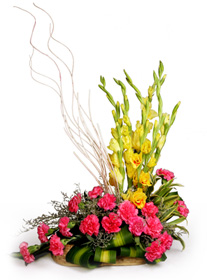 12 Pink Carnations+ 12 Yellow Gladiolli basket