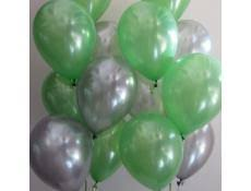 15 green and silver gas inflated balloons tied with ribbons