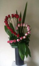 30 Red and Pink Roses Half Na Half Row Heart in Basket