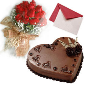 1 Kg Heart Shaped Chocolate Cake with 12 red roses and Card