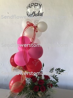 10 White Pink Red Balloons Air filled with happy birthday printed balloon 8 roses