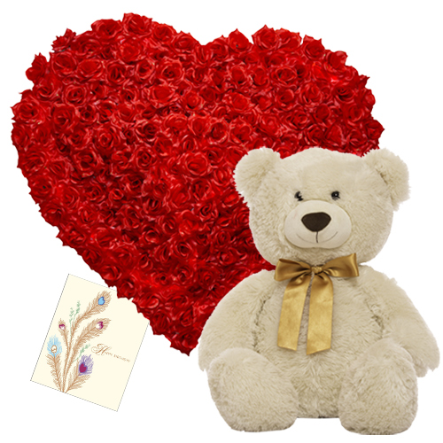 24 red Roses Heart with 10 to 12 inch Teddy