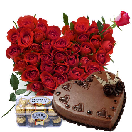 24 red roses heart 1 kg heart chocolate cake 16 Ferrero