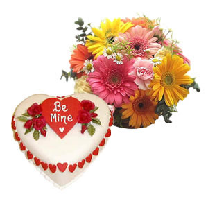 1 Kg heart cake and 12 gerberas basket