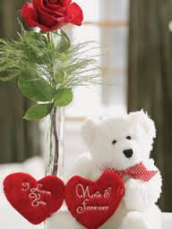 1 red rose and Teddy 6 inches with 2 Valentine hearts
