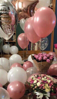 20 Helium Gas Filled pink and white Balloons with two flower bouquets 10 pink roses and 10 pink and white roses