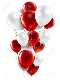 15 Helium Gas filled Red and white Balloons tied to ribbons