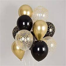 10 Gas filled gold black Balloons tied to ribbon