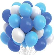 20 Helium Gas filled Blue and White Balloons tied to ribbons